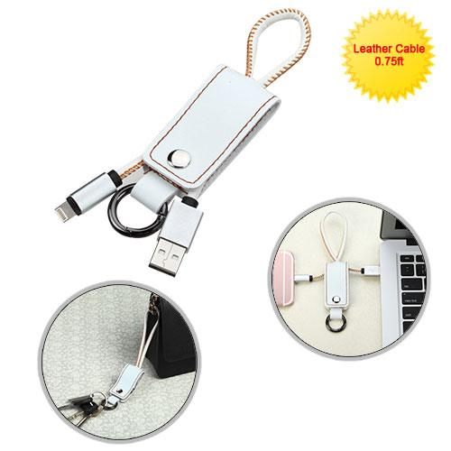 Portable USB Leather Data Cable With Key Chain