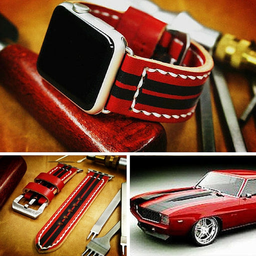 zCustom 100% Handmade leather watch band for 42mm Apple watch Camaro red and black stripes design
