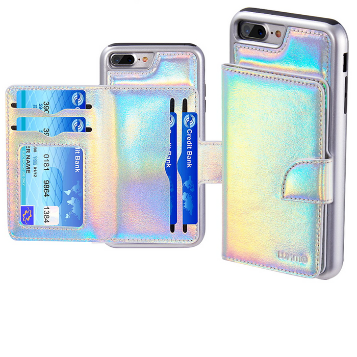 The UNICORN Holographic Leather Wallet Case - iPhone 7/8
