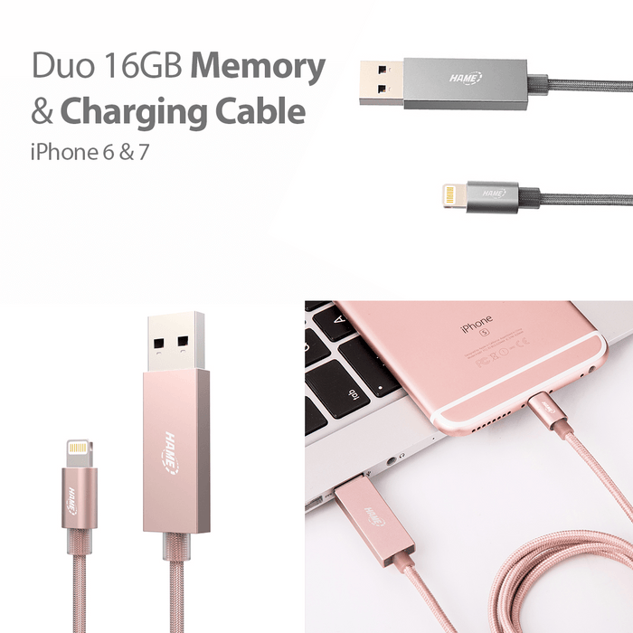 Duo 2-in-1 Apple Certified 16Gb USB Flash Drive & Lightning Charging Cable