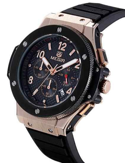 Men's Chronograph 24 Hr Indicator Military Sports Watches 3ATM Waterproof Gold Stainless Steel Mens Watches