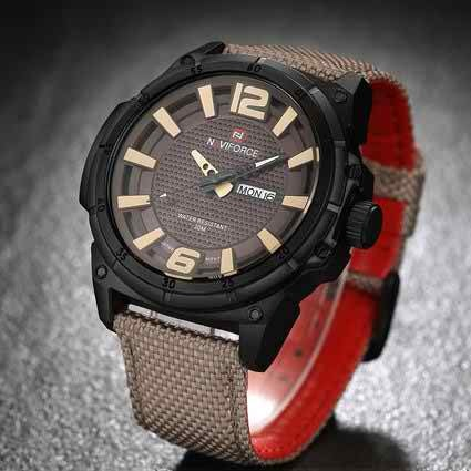 Men's Watches Auto Date Day Nylon Watch Band Japanese Quartz Wrist Watches Sports Beige