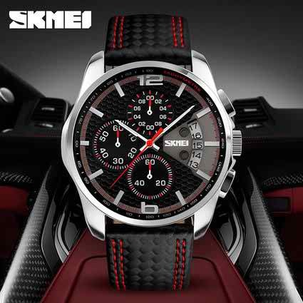 Men's Watches Chronograph 5ATM Waterproof Black Leather Quartz Sports Casual Wrist watch 9106