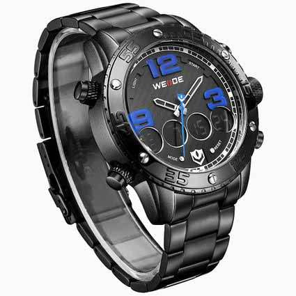 Men's Big Dial Watch Silver Steel Band Black Blue
