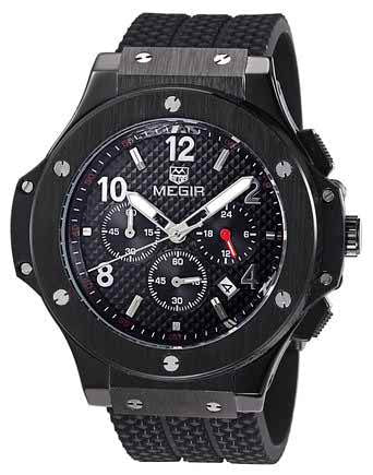 Men's Chronograph 24 Hr Indicator Military Sports Watches 3ATM Waterproof Black Stainless Steel Mens Watches