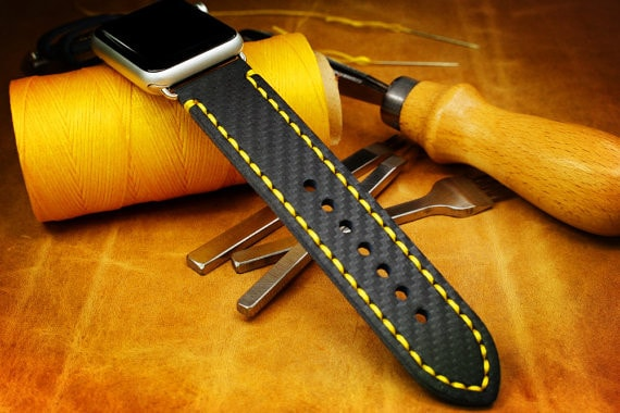 zCustom Genuine Leather Embossed Carbon Fibre Pattern Watch Strap for 42mm Apple Watch with Lug Adaptors - new yellow stitching