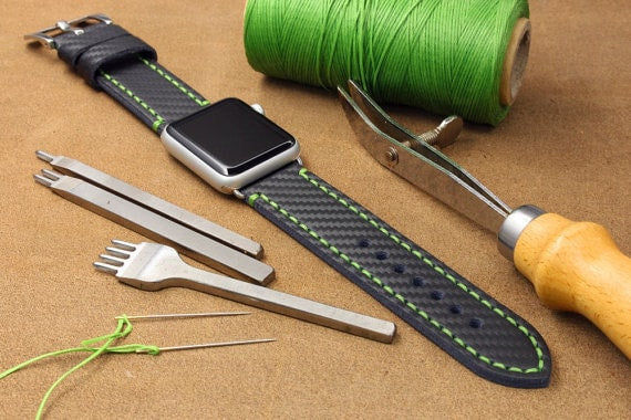 zCustom Genuine Leather Embossed Carbon Fibre Pattern Watch Strap for 42mm Apple Watch with Lug Adaptors - Lime-Green stitching