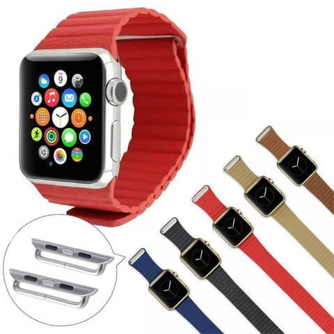Leather Loop Watch Band with Magnetic Buckle for Apple Watch 38mm/42mm