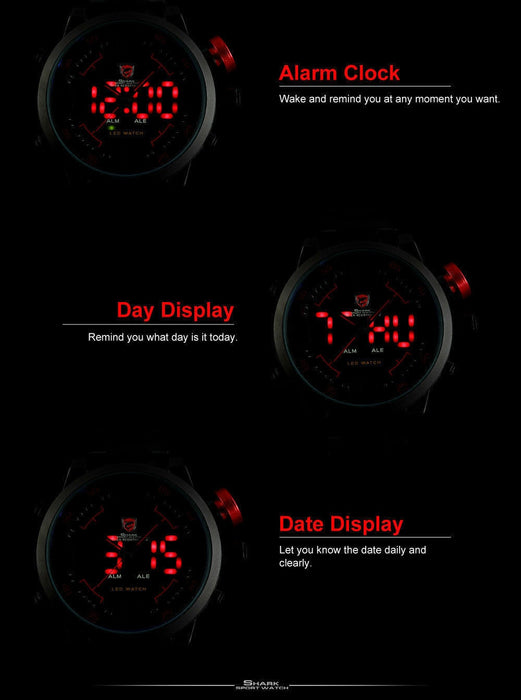 3D Modern Digital LED Date Day Stainless Steel Sport Alarm Quartz Watch