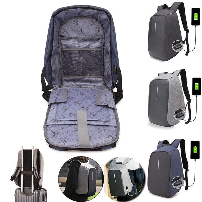 Anti-Theft Backpack USB Charge Port Waterproof Laptop Travel Rucksack School Bag