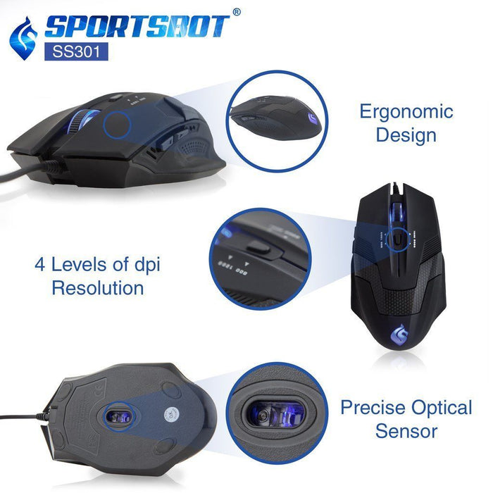 SportsBot SS301 Gaming Headphone, Keyboard & Mouse Combo with LED Features | Blue
