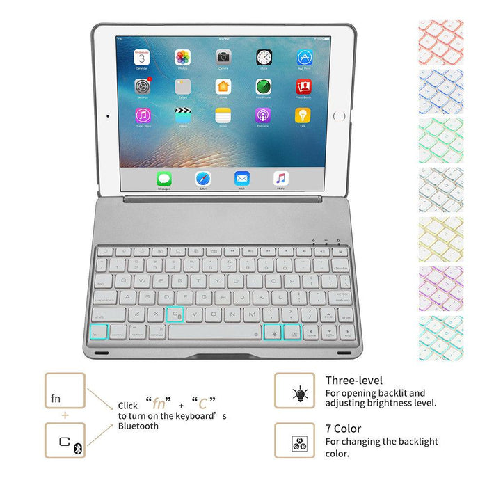 iPad Air 9.7 - Metal Macbook Style Bluetooth Keyboard - 7 Color Backlit Keyboard