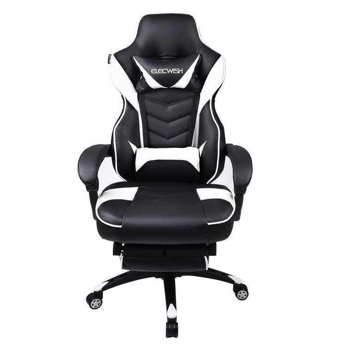 ELECWISH Office Gaming Chair Racing Recliner Bucket Seat Computer Desk w/Footrest