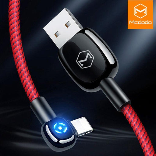 The Iron Man 90 - 90º Degree LED Auto Lightning Rapid Charging Cable | 4FT