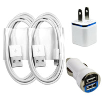 2x Charging / Sync Kits Cords + Wall & Dual Output Car Charger for iPhone 6 5 5s