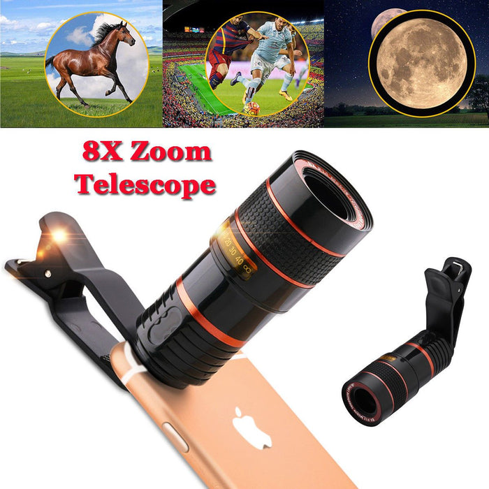 HDZoomLENS Clip-on 8x Optical Zoom Telescope Camera Lens