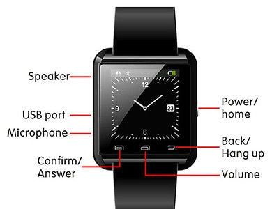 U8 Bluetooth Smart Wrist Watch Phone Mate - Android & iPhone