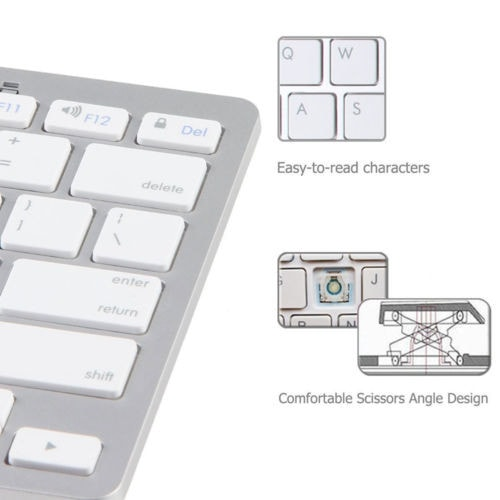 Bluetooth 3.0 Wireless Keyboard for Phone iPad Air 2 3 4 Mac Computer PC Macbook