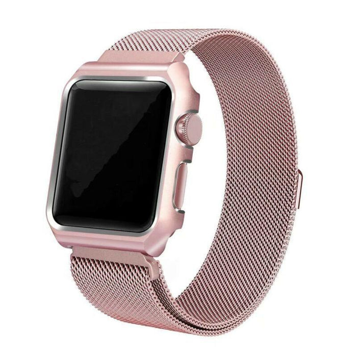 Braria Milanese Stainless Steel Watch Band + Case For Apple Watch Series 4/3/2/1