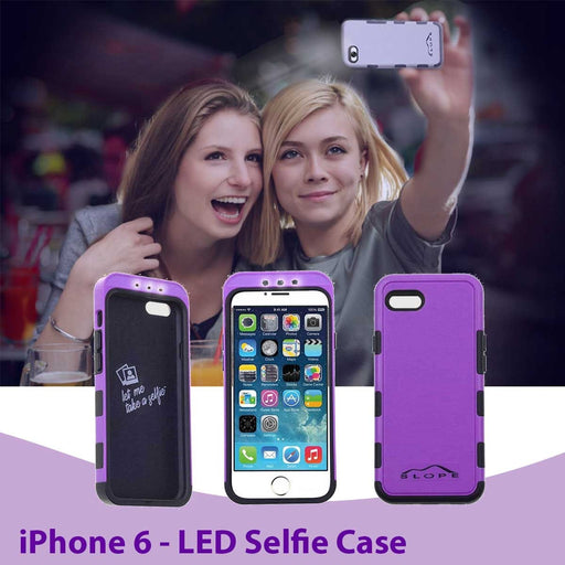 Selfie Phone Case for Apple iPhone 6 w Forward Facing Adjustable LED Light