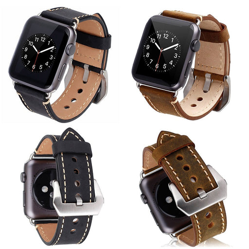 Premium Vintage Genuine Leather Watchband with Secure Metal Clasp Buckle for Apple Watch Sport Edition