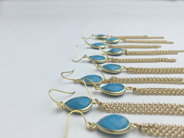 Turquoise Chain Drop Earrings