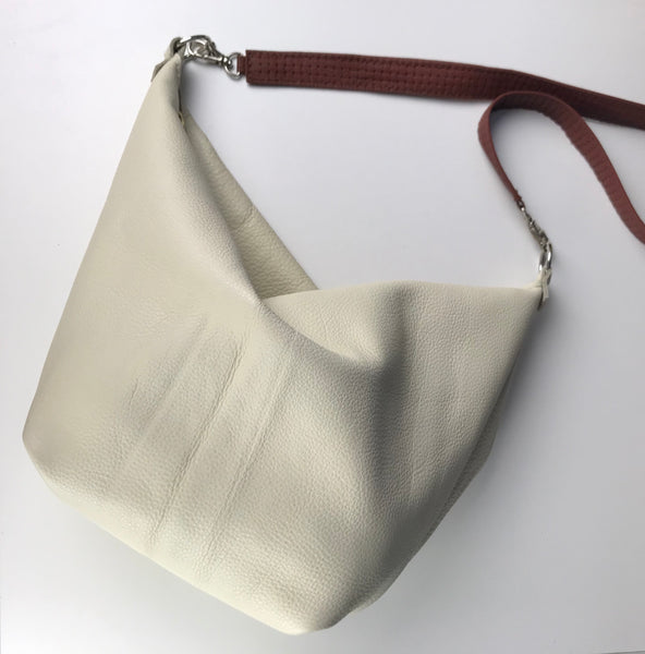 White Leather Saddle Bag