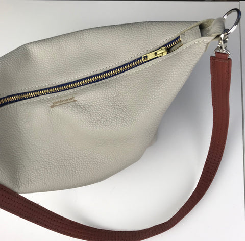 Grey Leather Saddle Bag
