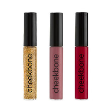 Load image into Gallery viewer, Gold Glitter Lipgloss, Sweetgrass Lipgloss & Fire Lipgloss Cheekbone Beauty