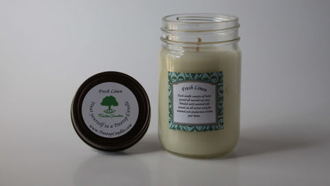 12 oz Fresh Linen soy wax candle