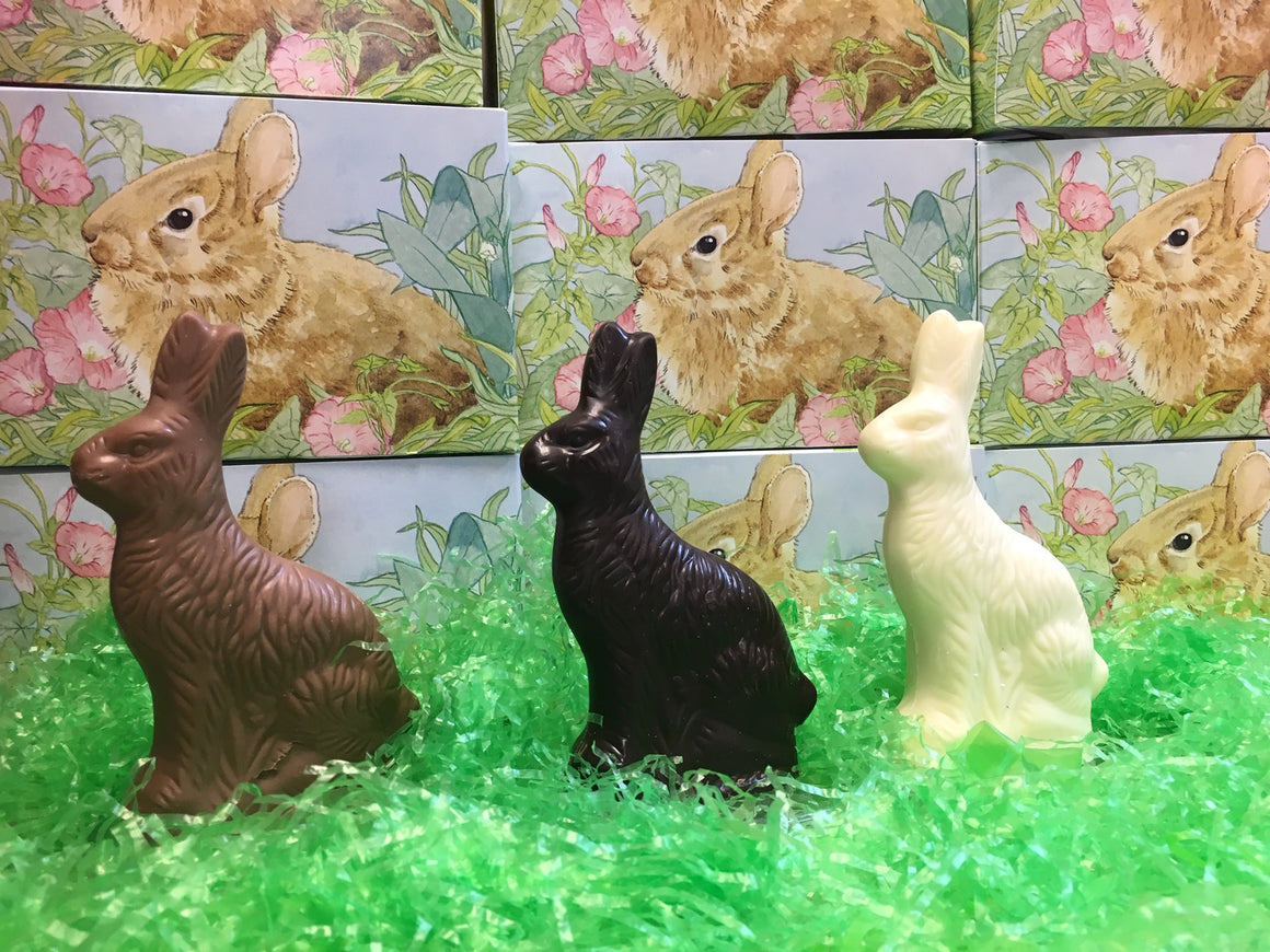 Solid Milk, Dark or White Chocolate Sitting Easter Bunny 2 1/2 oz