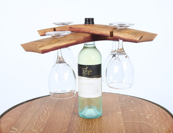 Wine Bottle & Glass Holder - Double