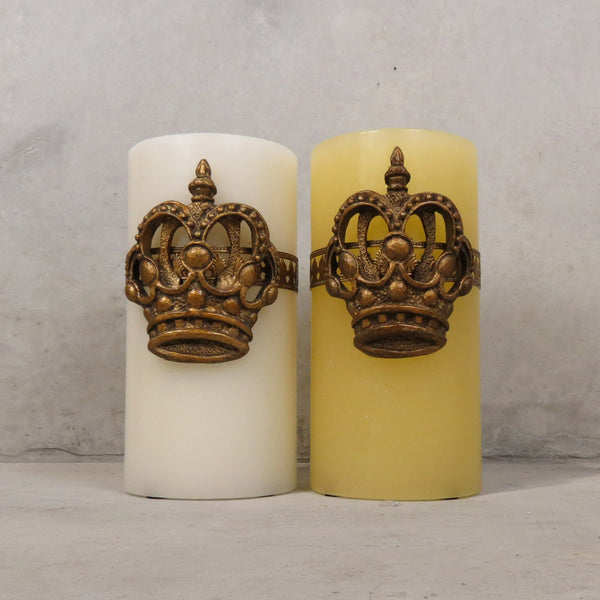 Large Del Ray Candle with Crown - Bone