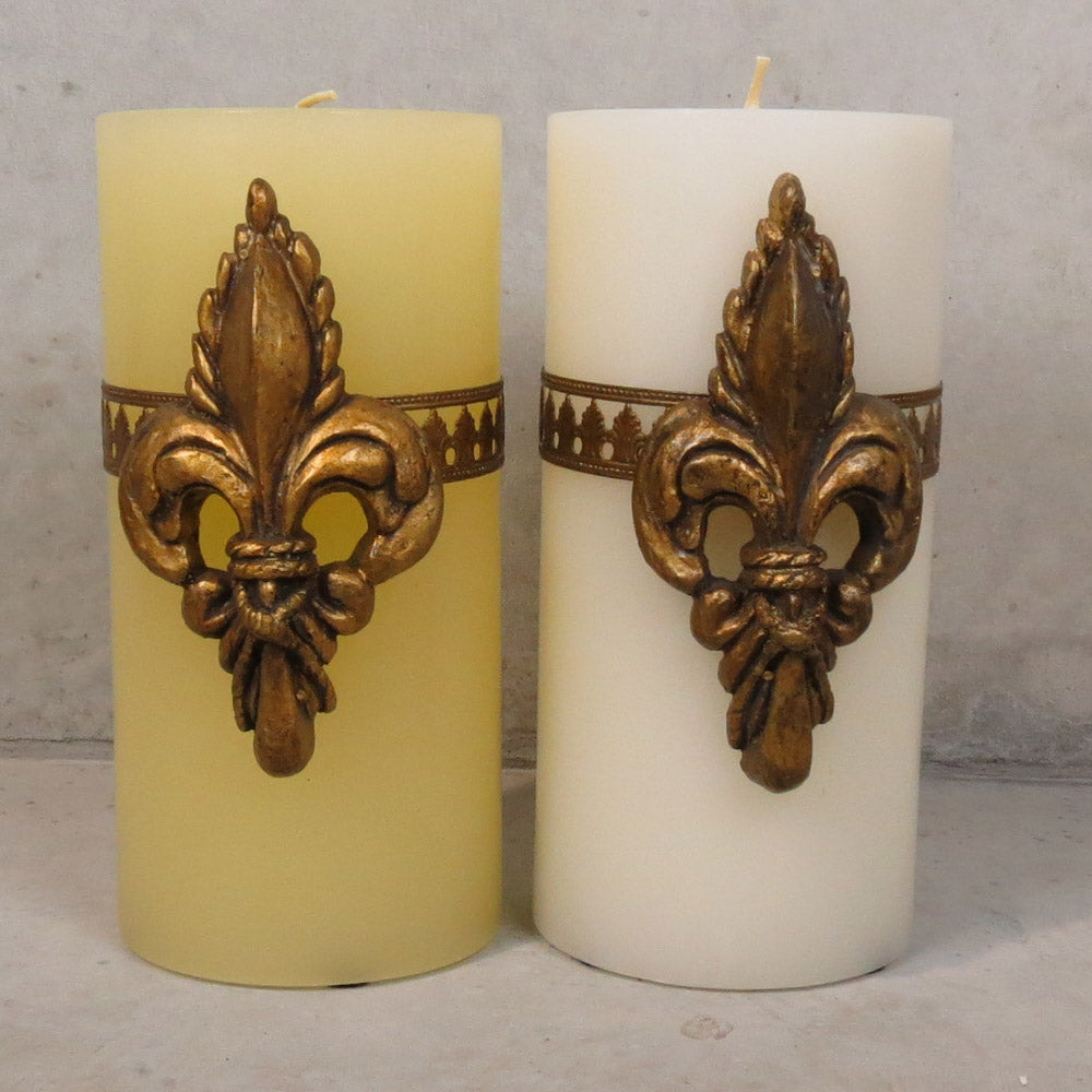 Del Ray Candle with Fleur de Lis - Large - Ivory/Gold