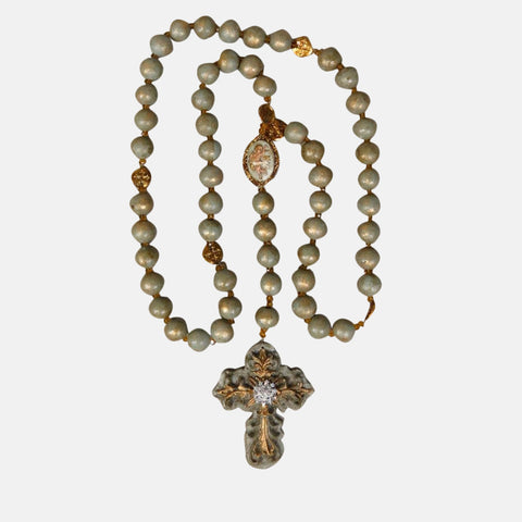 Rosary - 105 cm long -  Pale Green Finish