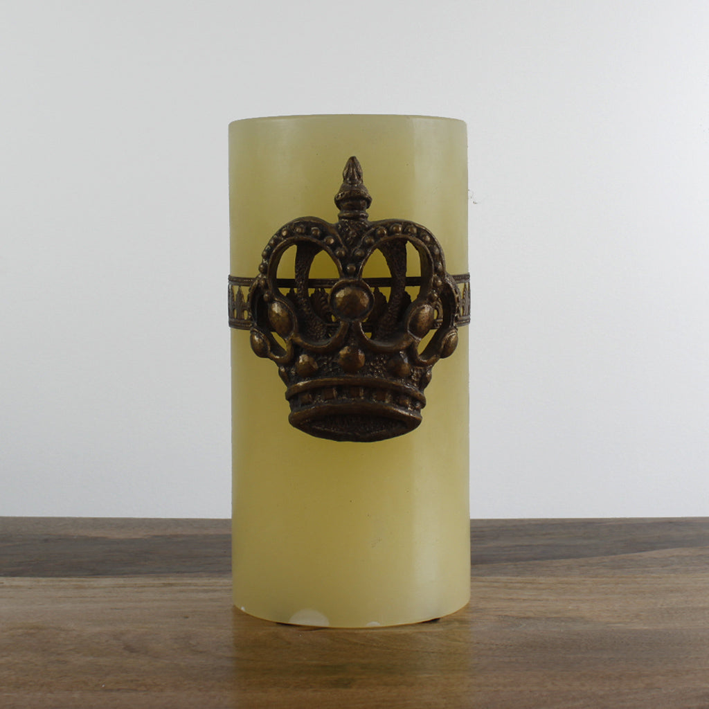 Large Del Ray Candle with Crown - Ivory