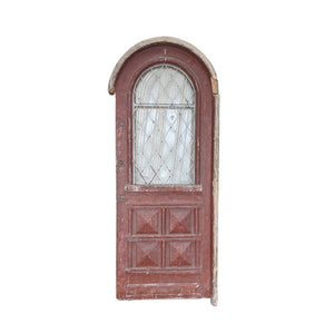 Vintage Solid Wood & Iron Arched Door #3