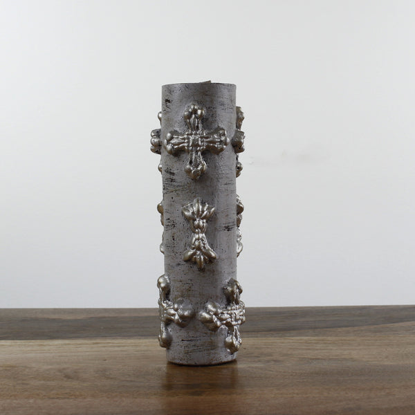 large Grey Wash Candle With Cross
