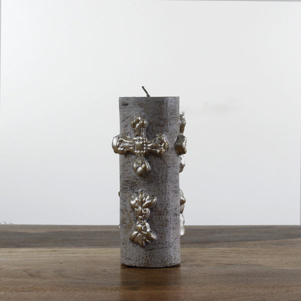 medium Grey Wash Candle With Cross