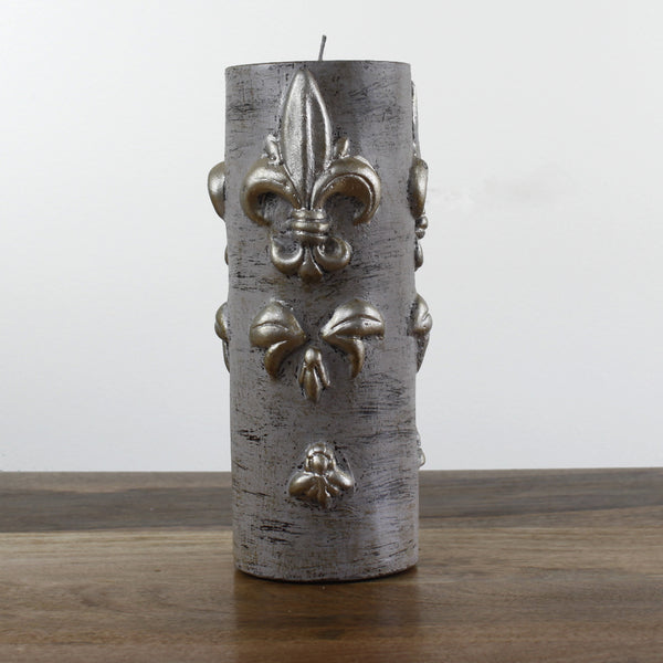large Grey Wash Candle With Fleur de Lis