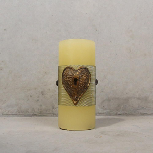 Ivory/Gold Heart Candle - Small / Medium / Large