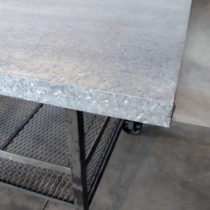 industrial table stainless steel closeup