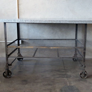 industrial kitchen table or butchers block