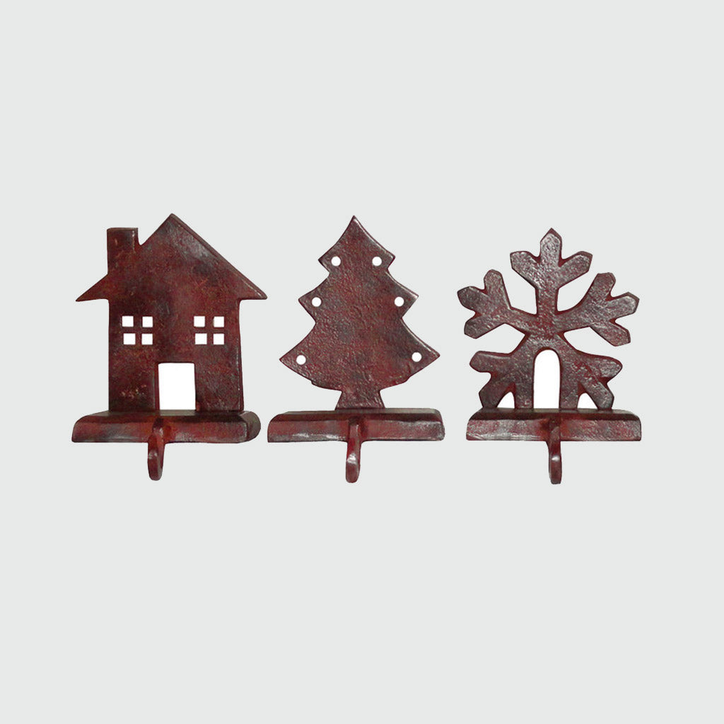 Mantle Christmas Stocking Holders - Tree / Snowflake / House