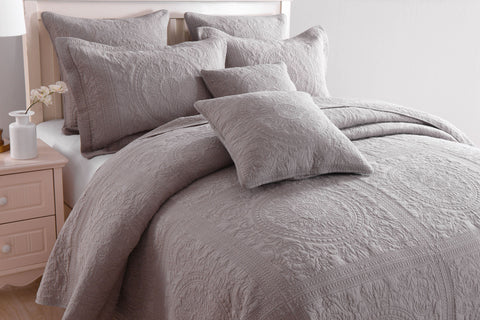 Louis Coverlet Bedspread Set - 100% Cotton  - Taupe