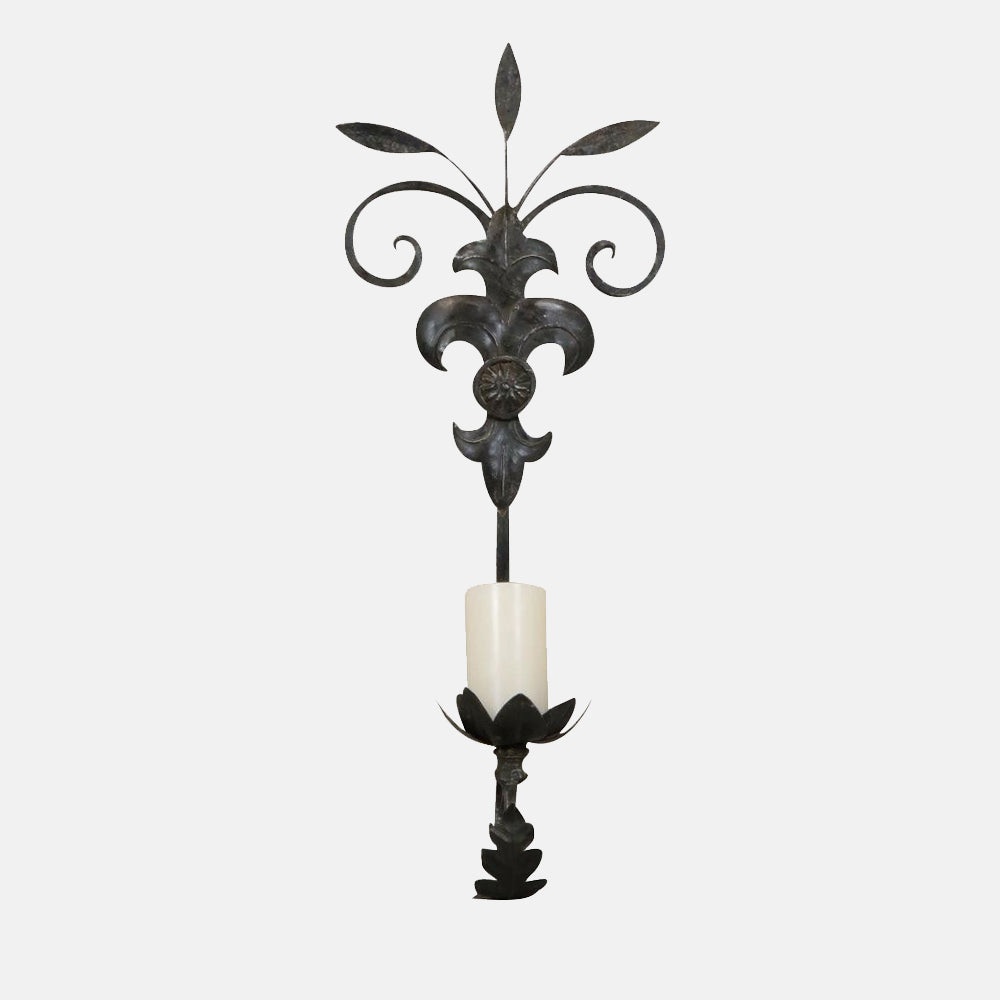 Solid Iron Wall Sconce with Fleur de Lis detail