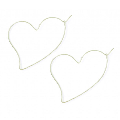 Silver Wire Heart Earrings