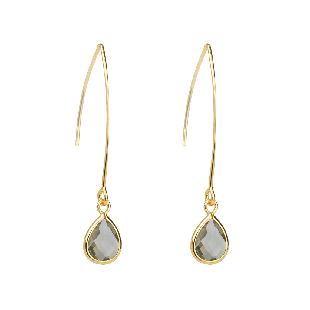 Smoke Drop Crystal Earrings