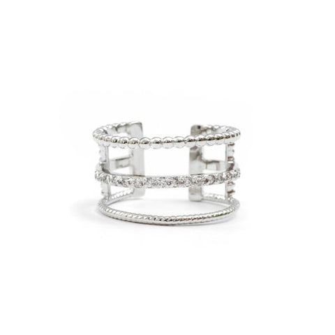 Silver 3 Row Adjustable Ring