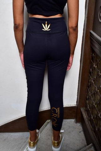 Black Yoga Pant with mesh details and pocket